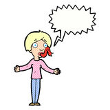 Cartoon woman telling lies with speech bubble Stock Photo