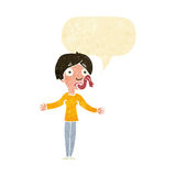 Cartoon woman telling lies with speech bubble Stock Photography