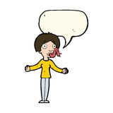 Cartoon woman telling lies with speech bubble Stock Image