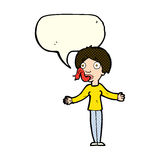 Cartoon woman telling lies with speech bubble Royalty Free Stock Images