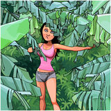 Cartoon woman in a thicket of palm leaves Stock Photography