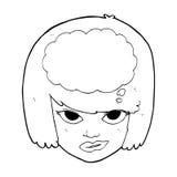 cartoon woman thinking Royalty Free Stock Photos