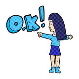 Cartoon woman thinking OK Stock Image