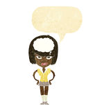 cartoon woman thinking with speech bubble Royalty Free Stock Photo