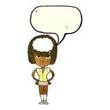 cartoon woman thinking with speech bubble Stock Image