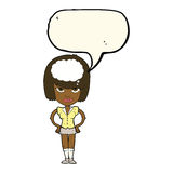 cartoon woman thinking with speech bubble Royalty Free Stock Images