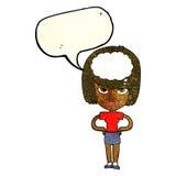 cartoon woman thinking with speech bubble Stock Photo