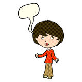 cartoon woman thinking with speech bubble Royalty Free Stock Image