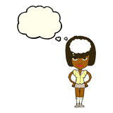 Cartoon woman thinking with thought bubble Stock Photography