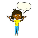 Cartoon woman throwing arms in air with speech bubble Stock Images