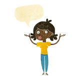 Cartoon woman throwing arms in air with speech bubble Stock Image