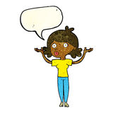 Cartoon woman throwing arms in air with speech bubble Royalty Free Stock Photography