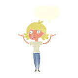 Cartoon woman throwing arms in air with speech bubble Stock Photos