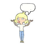 Cartoon woman throwing arms in air with speech bubble Stock Photo
