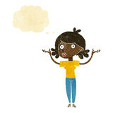 Cartoon woman throwing arms in air with thought bubble Royalty Free Stock Photo