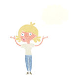 Cartoon woman throwing arms in air with thought bubble Royalty Free Stock Image