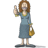 Cartoon woman with thumb up Stock Photo