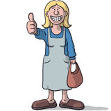 Cartoon woman with thumb up Royalty Free Stock Image