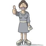 Cartoon woman with thumb up Stock Image