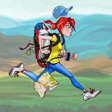 Cartoon woman tourist with backpack runs fast. Cartoon woman tourist with backpack funny runs fast in nature stock illustration