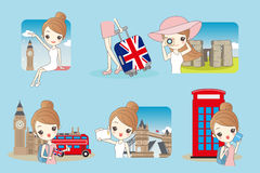 Cartoon woman travel in England Stock Images