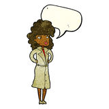 Cartoon woman in trench coat with speech bubble Royalty Free Stock Photos