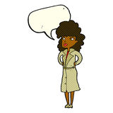 Cartoon woman in trench coat with speech bubble Stock Photos