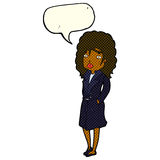 Cartoon woman in trench coat with speech bubble royalty free illustration