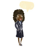 Cartoon woman in trench coat with speech bubble Royalty Free Stock Images