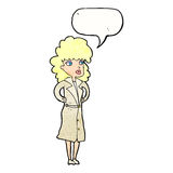 Cartoon woman in trench coat with speech bubble vector illustration
