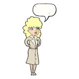 Cartoon woman in trench coat with speech bubble Stock Photo