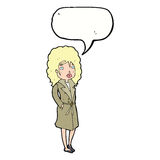 Cartoon woman in trench coat with speech bubble stock illustration