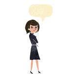 Cartoon woman in trench coat with speech bubble Stock Photography