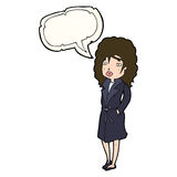 Cartoon woman in trench coat with speech bubble Royalty Free Stock Photo