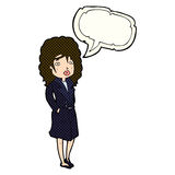 Cartoon woman in trench coat with speech bubble Stock Images