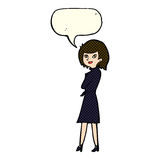 Cartoon woman in trench coat with speech bubble Stock Image