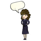 Cartoon woman in trench coat with speech bubble Royalty Free Stock Photography