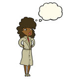 Cartoon woman in trench coat with thought bubble Stock Photography