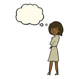Cartoon woman in trench coat with thought bubble Royalty Free Stock Images