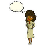 Cartoon woman in trench coat with thought bubble Royalty Free Stock Photography