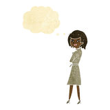 Cartoon woman in trench coat with thought bubble Stock Images