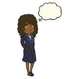Cartoon woman in trench coat with thought bubble stock illustration