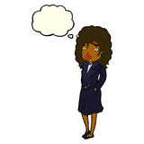Cartoon woman in trench coat with thought bubble royalty free illustration