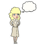 Cartoon woman in trench coat with thought bubble Stock Photos