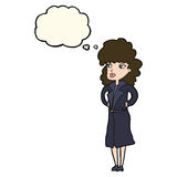 Cartoon woman in trench coat with thought bubble Royalty Free Stock Photos