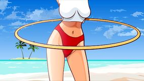 Cartoon woman turns the Hoop on the shore of a tropical sea stock video