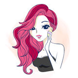Cartoon woman use powder puff Royalty Free Stock Images