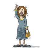 Cartoon woman very angry Royalty Free Stock Photography