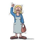 Cartoon woman very angry Royalty Free Stock Images
