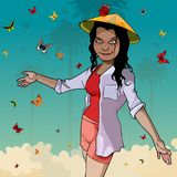 A cartoon woman in a Vietnamese hat is surrounded by butterflies royalty free illustration